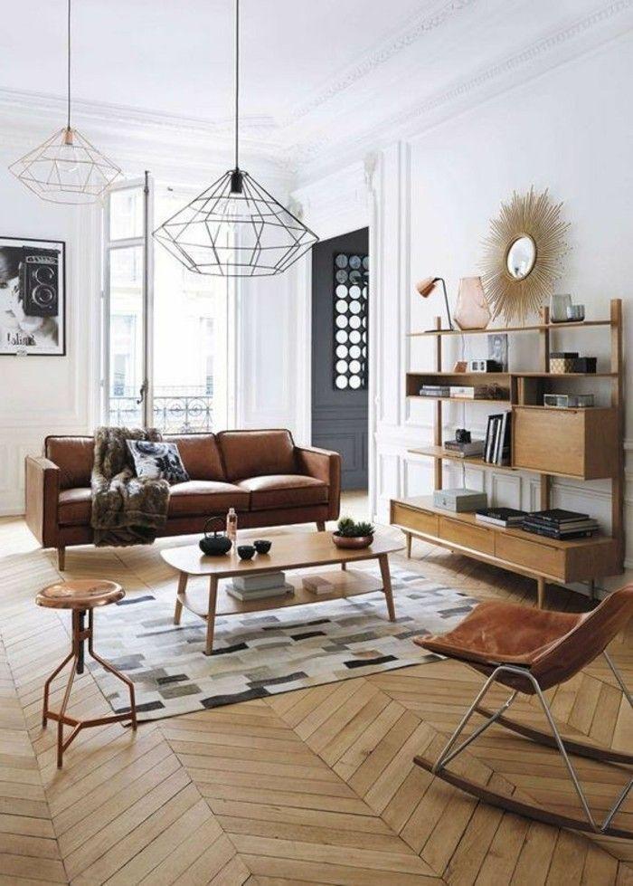 idee deco salon classique, #canape en cuir marron, sol en ...