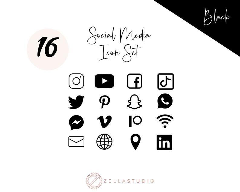 Black Social Media Icons Minimalist Social Media Logos Etsy Social Media Icons Black Social Media Icons Media Icon