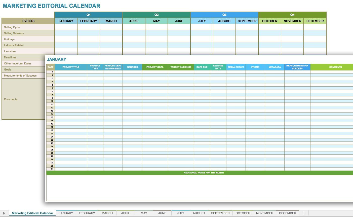 Daily Marketing Calendar Template for Excel, Free Download