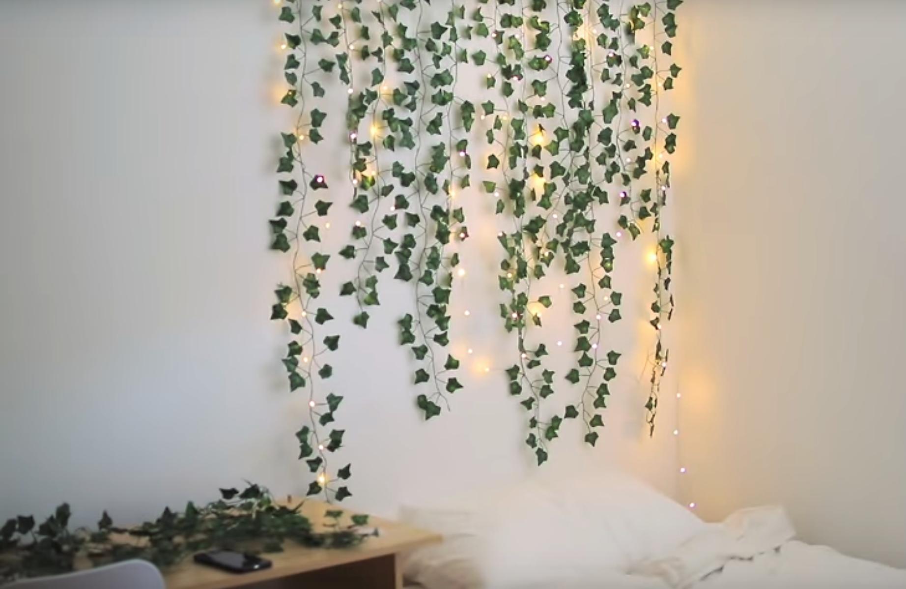Ivy Vine Plant Headboard Bedroom Decor   Hanging bedroom ... on Vine Decor Ideas  id=98364