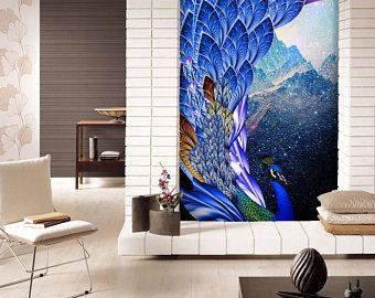 3d bleu paon plumes 88 vues papier peint mural mur impression sticker mural d co int rieure. Black Bedroom Furniture Sets. Home Design Ideas