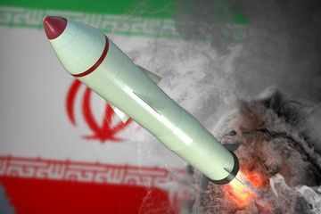 Launch of missile. Iran flag in background. 3D rendered illustration. , #AFFILIATE, #Iran, #missile, #Launch, #flag, #illustration #Ad