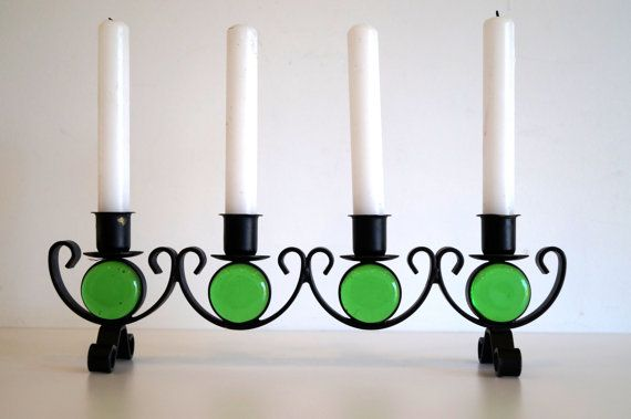 Swedish Black Metal Candleholder With Green Glass Ornaments Gunnar Ander Wrought Iron Mid Century Candle Holders Wrought Iron Glass Handmade Candle Holders