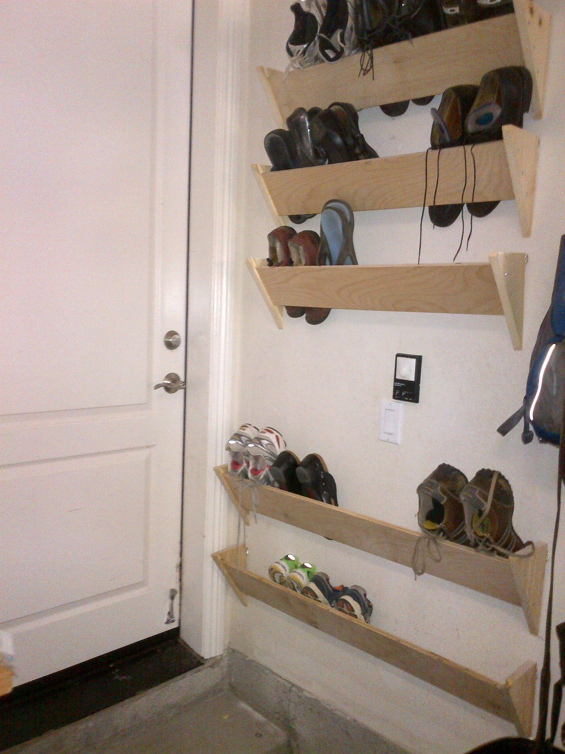 Hallway wall storage  homemade shoe racks for our garage walls by the house entrance