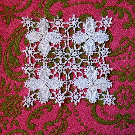 Vintage Fine Crochet Square  Arts and Crafts Style by taffnie