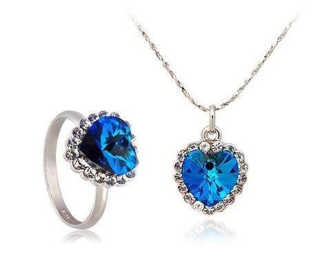 ITALINA Ocean Series I Necklace & Ring (9#) Set (White Golden)$14.99