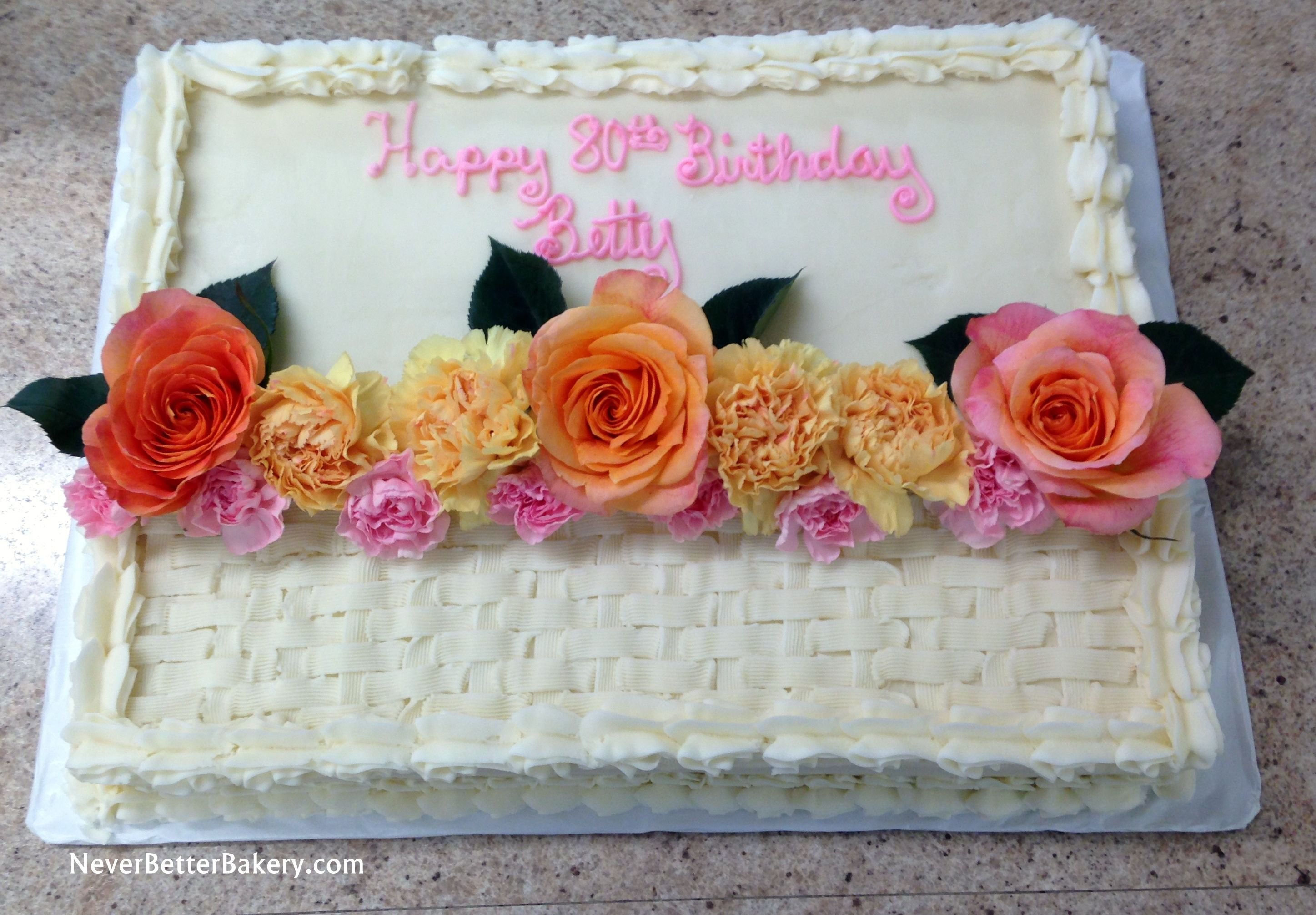 Decorating A Sheet Cake With Real Flowers ...