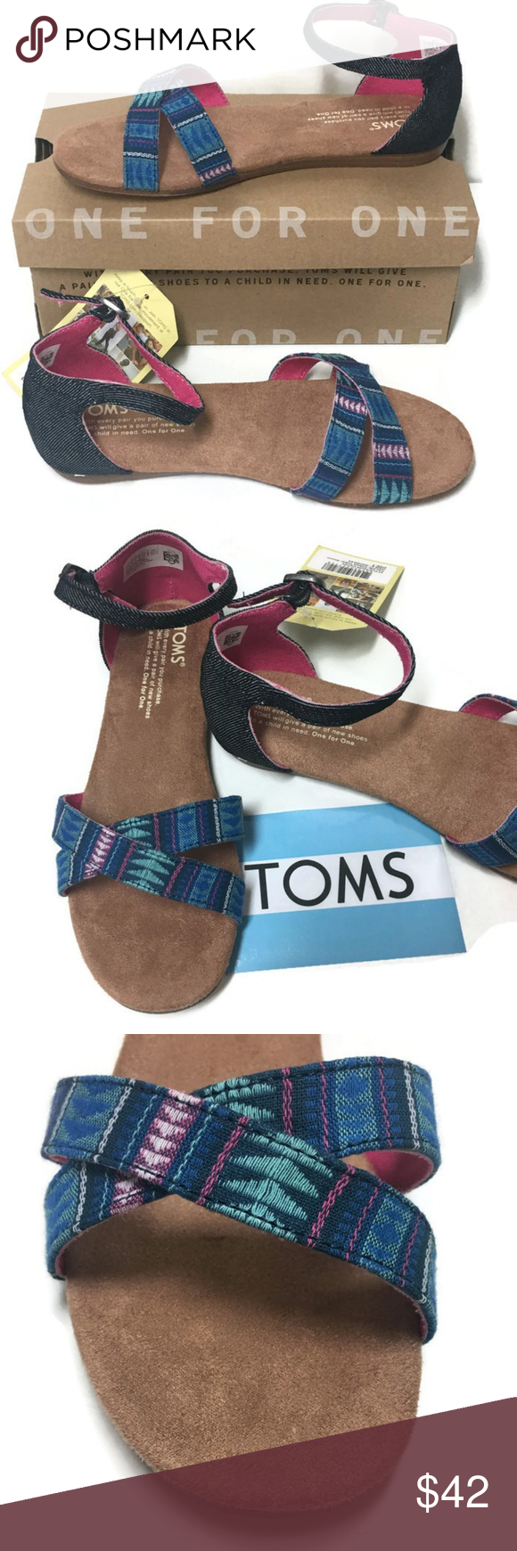 2918173ac06 TOMS Correa Sandals 3M Youth Girls Blue Tribal OMS Correa Sandals New in  Box Style