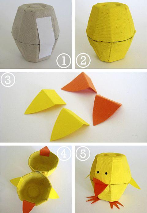 Coelhos feitos com reciclagem de caixa de ovo - Pra Gente Miúda