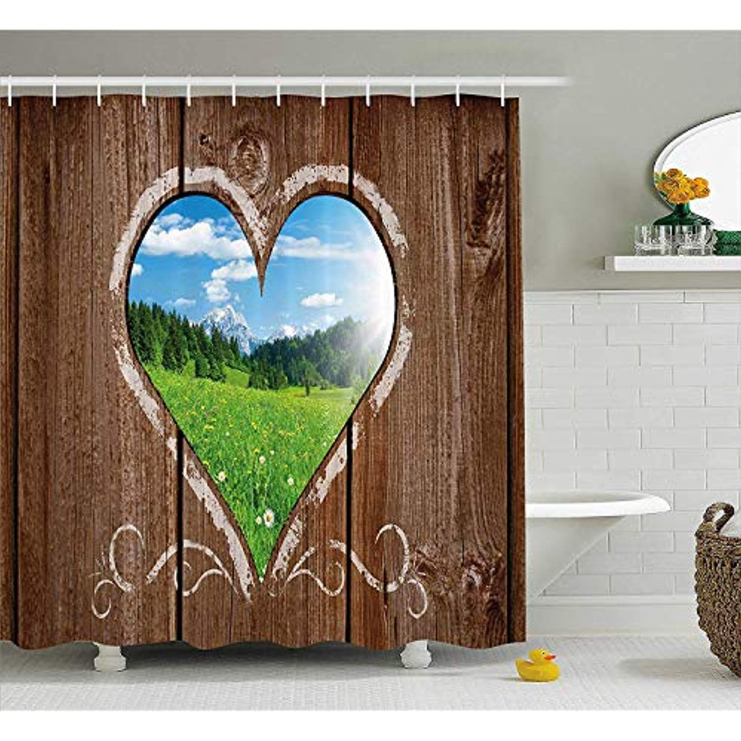 Yvsxo Outhouse Shower Curtain Heart Window View From Wooden