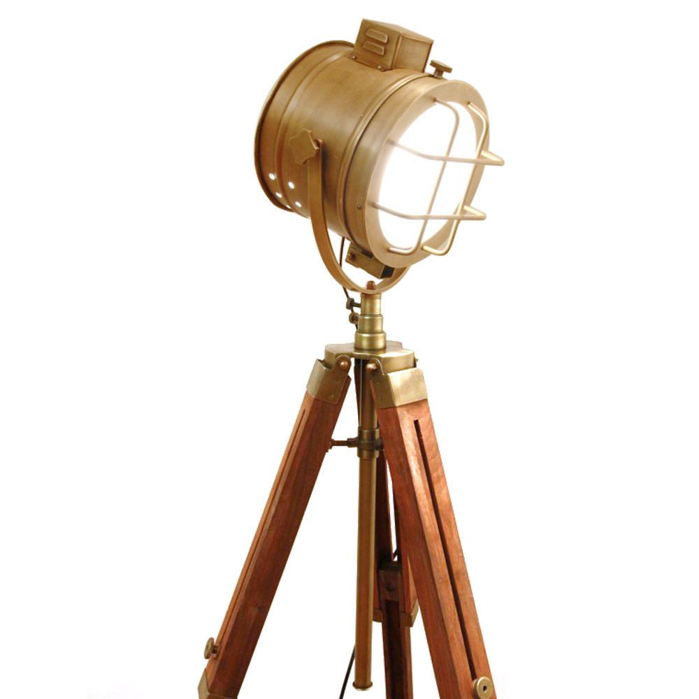 Collectible Designer/'s Antique Brass Floor Lamp Spot Light with Brown Tripod .