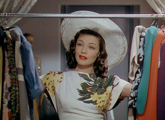 ffd5d9536207ea Gene Tierney 40s white dress floral accent hat color photo movie star print  ad vintage fashion