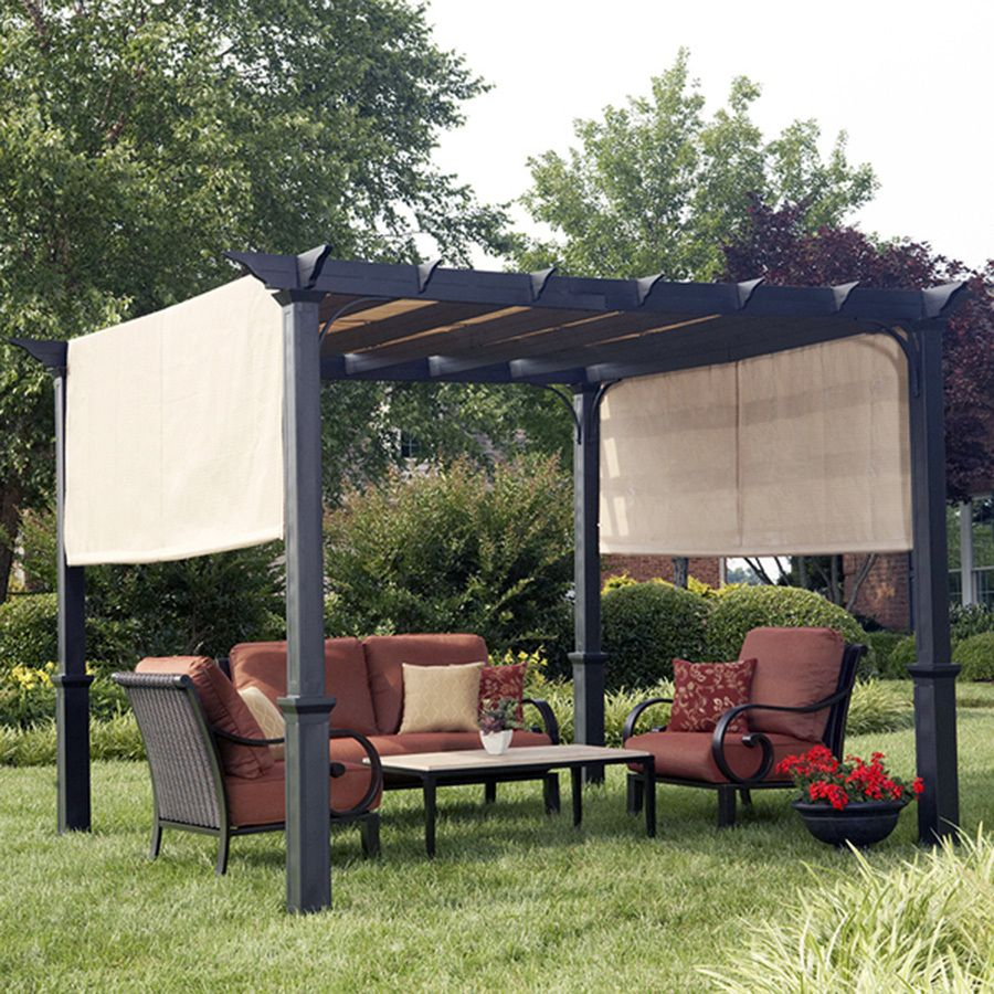 Shop garden treasures matte black steel freestanding for Exterior canopy design