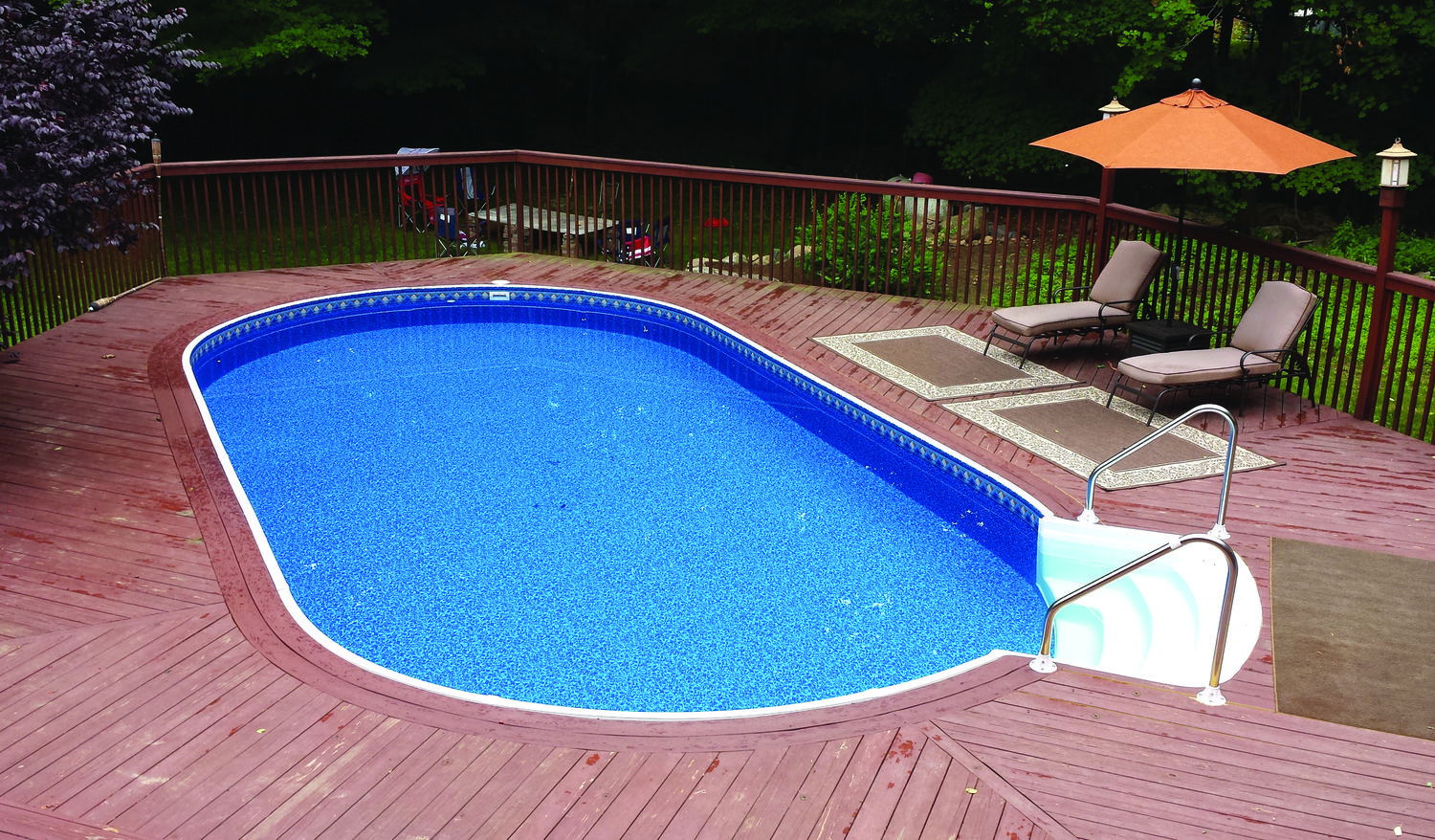 16x28 With Step Jpg With Images Backyard Pool