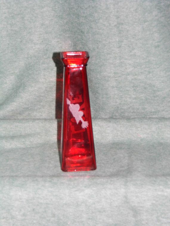 Love Red Glass Flower Vase Hearts And Love In By Onefromthevault