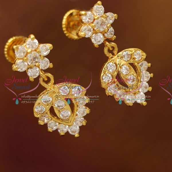 Gold Plated South Indian Traditional Back Earrings Fashion