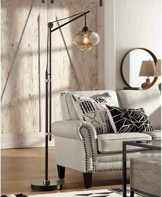 Vintage Industrial Downbridge Floor Lamp Bronze Cognac Glass Dimmable Antique LED Edison Bulb for Li