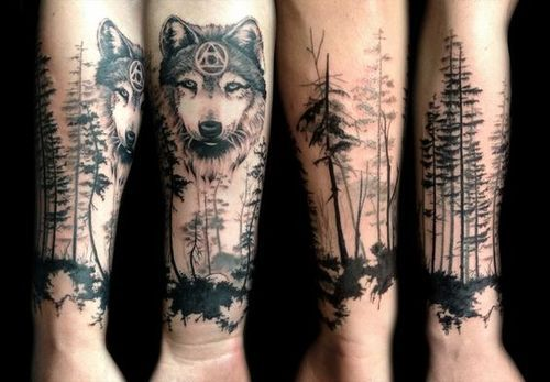 88db6d79b Tribal Wolf Face With The Trees On The Background Wolf Tattoo Sleeve,  Tribal Wolf Tattoo