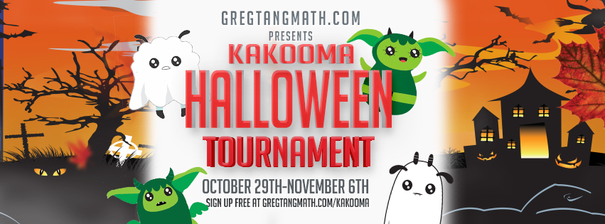 Kakooma Halloween Tournament. It's scary how much fun kids can have playing math. Join thousands of thousands of students and hundreds of teachers competing for prizes such as a Kindle fire HD by signing up at GregTangMath.com/kakooma. Oh, I almost forgot to mention. It's completely free.