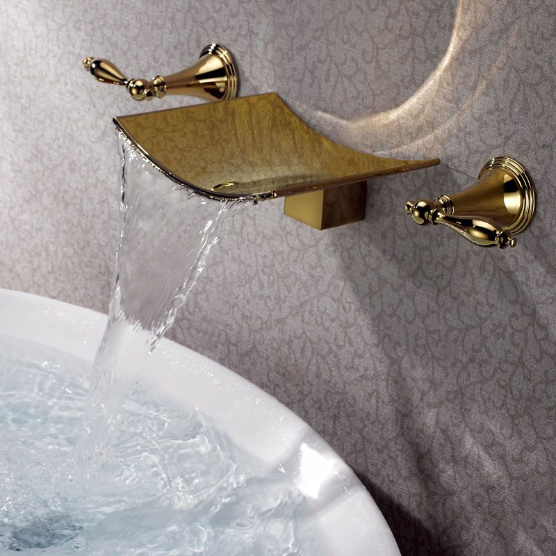 Modern Ti Pvd Gold Waterfall Wall Mounted Bathroom Bath Sink