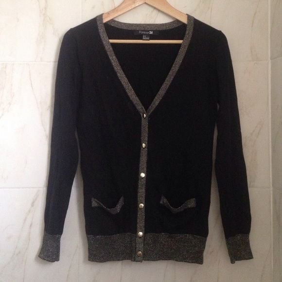 Forever 21 Black Cardigan Forever 21 Size Small Black and Gold Cardigan. Super Comfy. Hand wash. Front Pockets. Gold Trim and Buttons. Worn Once Forever 21 Sweaters Cardigans