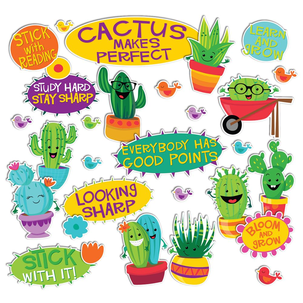 Classroom Decoration Cactus : A sharp bunch positive words mini bulletin board set