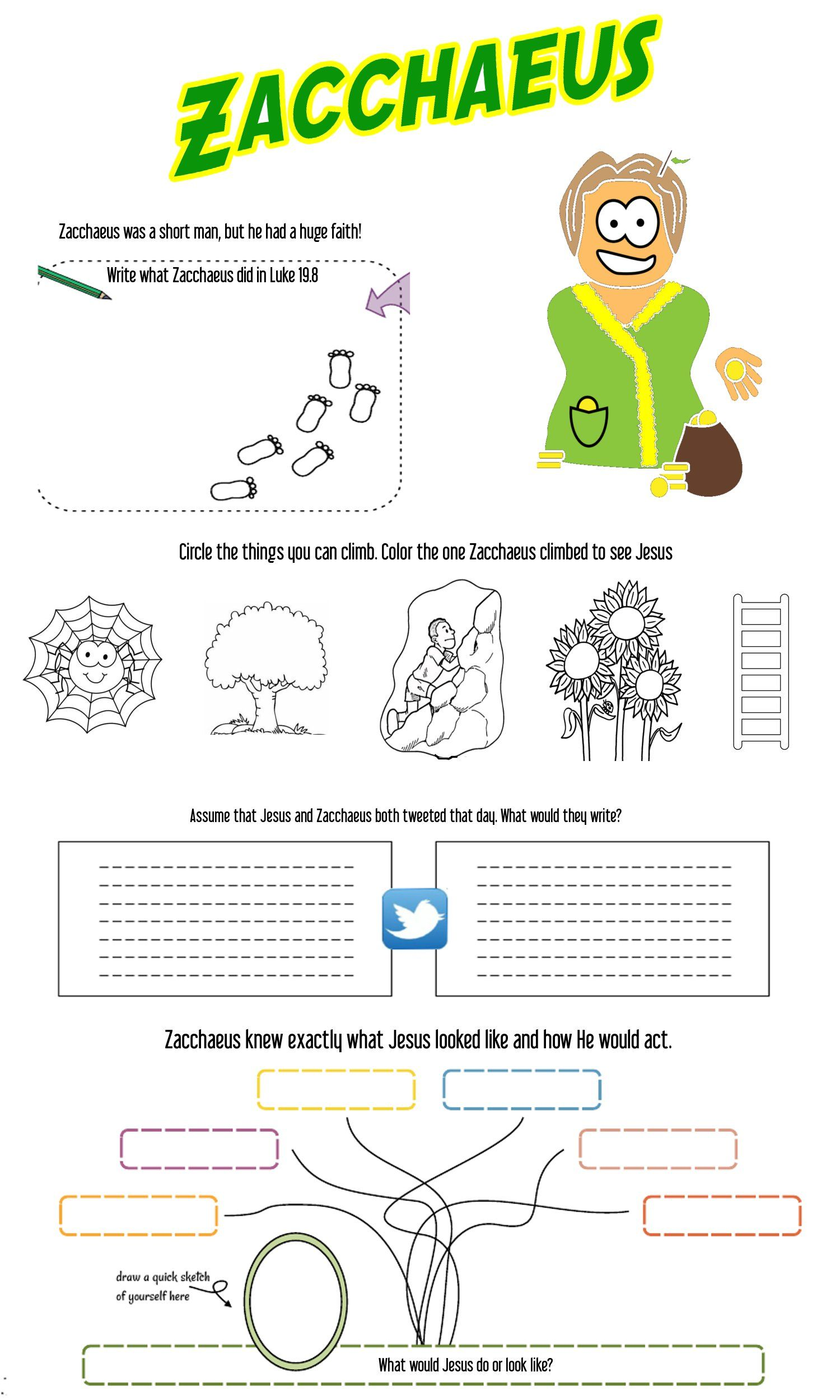 worksheets about zacchaeus kidz activities. Black Bedroom Furniture Sets. Home Design Ideas