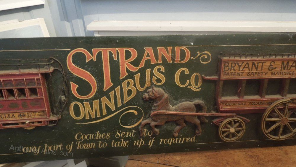 Strand Omnibus Co Wooden Advertising Sign In 2019 Advertising
