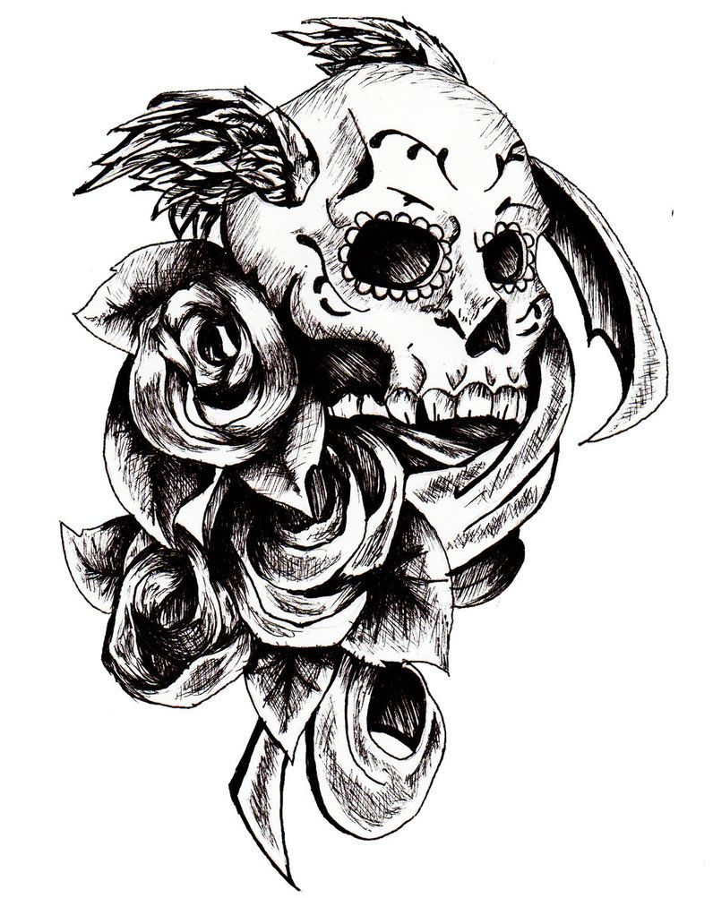 day of the dead skull tattoo design by amitchdesigns on deviantart divided elements. Black Bedroom Furniture Sets. Home Design Ideas