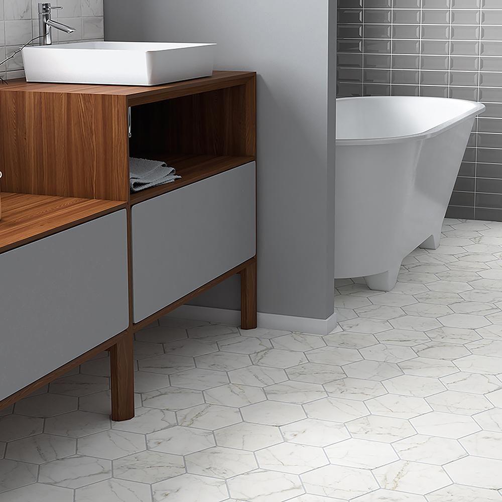 carrara tile bathroom. Merola Tile Carrara Hexagon 7 In. X 8 Porcelain Floor And Wall Bathroom I