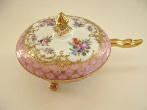 Dresden Hand Painted Flowers Gold Encrusted Porcelain Round Footed Dish w Lid PK | eBay