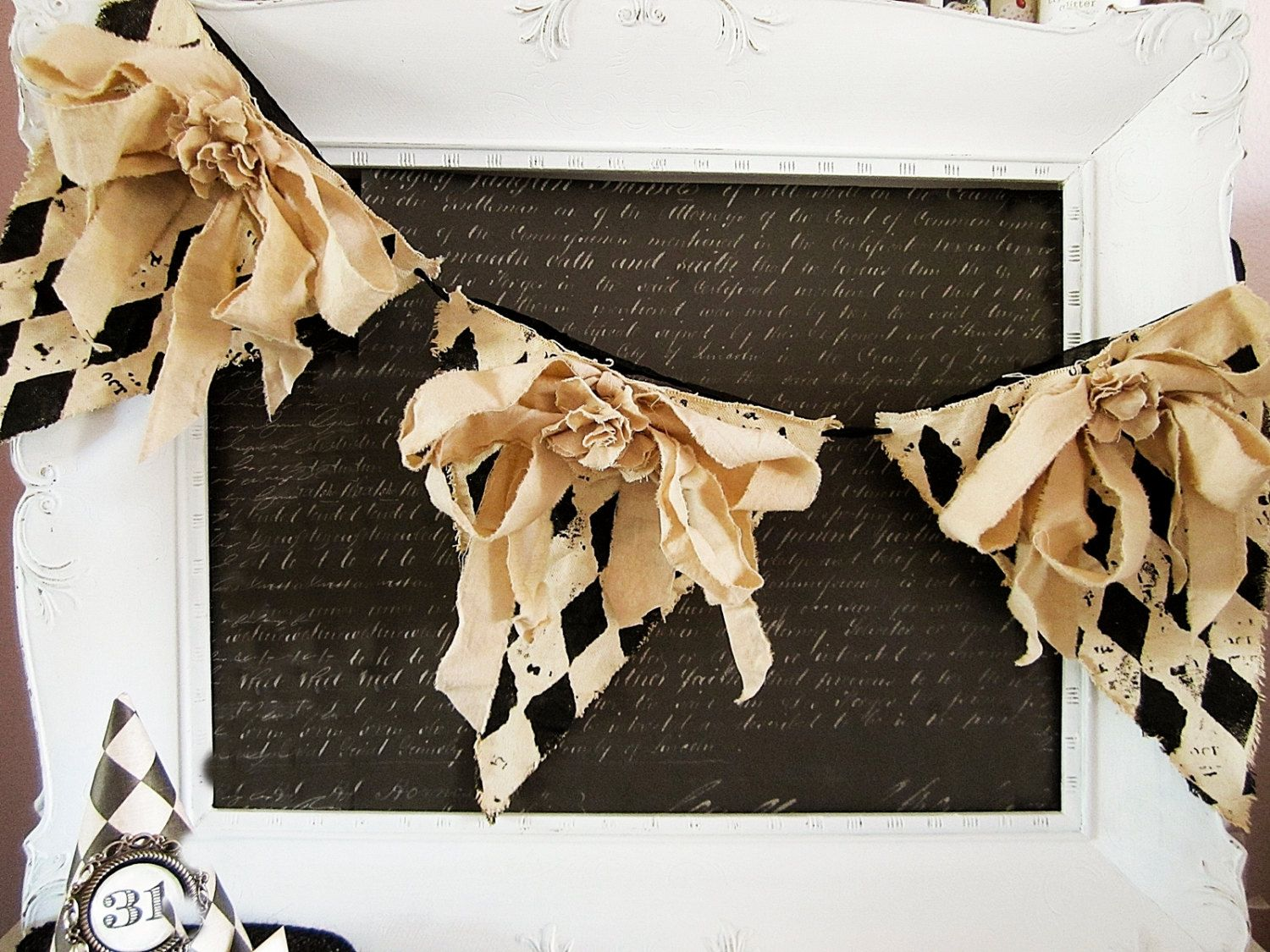 Halloween Decor, Halloween Banner, Vintage Halloween Decor, Halloween Garland, Rustic Chic Halloween, Shabby Chic Halloween, Black and Tan by kathyjacobson on Etsy https://www.etsy.com/listing/199629460/halloween-decor-halloween-banner-vintage