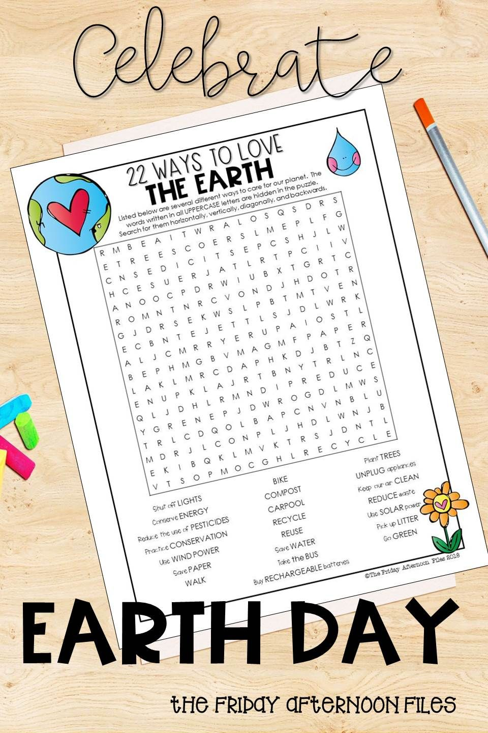 Earth Day Word Search 22 Ways to Love the Earth Earth