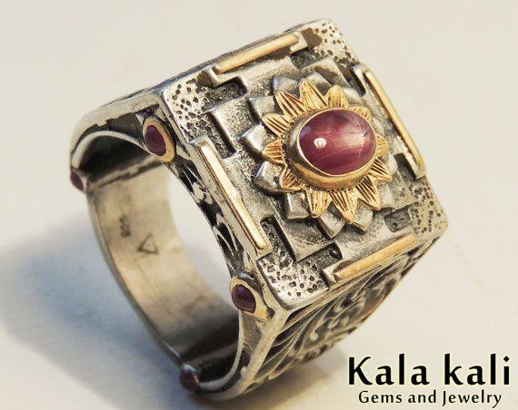 Mandala Ring Silver 18k Gold Star Ruby Sacred Jewelry by KalaKali, €300.00