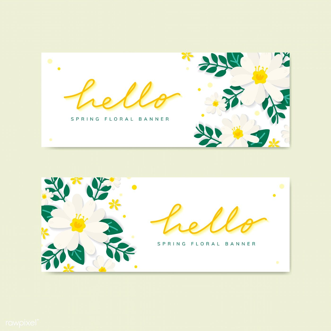 Hello Spring Floral Banner Vector Free Image By Rawpixel Com