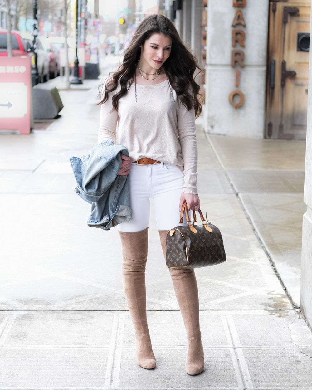 fa0390b04af Neutral spring outfit with Stuart Weitzman Highland look alike over the  knee boots. White skinny jeans
