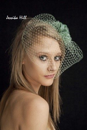 Jessika Hill Mint Green  Vintage Bridal Birdcage Veil Diamante Pearl  fascinator - themarriedapp.com hearted <3