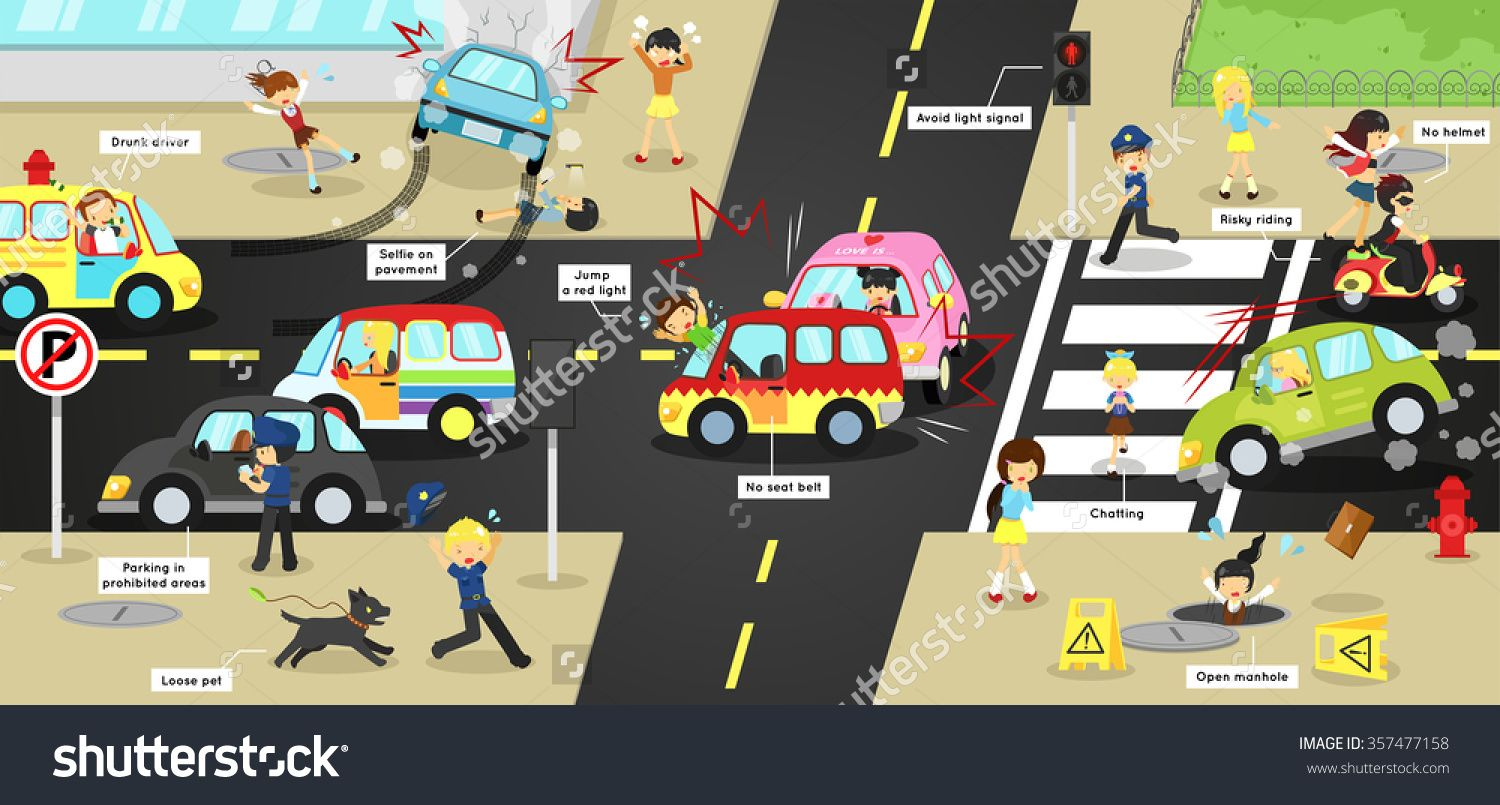 Infographic Accidents Injuries Danger And Safety On Traffic Road