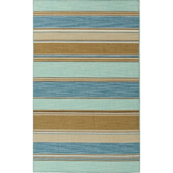 Handmade Flat Weave Stripe Pattern Blue Contemporary Rug 5 X