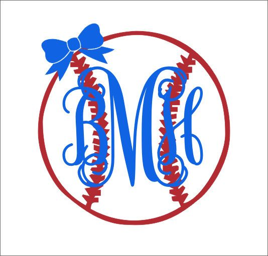 Baseball Monogram With Bow Decal Vinyl Decal Car Decal Car Window - Custom car decals baseball