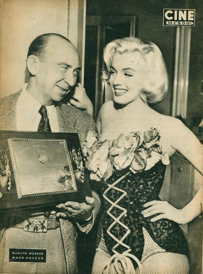 """Marilyn Monroe on the set of """"Gentlemen Prefer Blondes"""", receiving the State's Most Popular Movie Actress award from the Independent Theatre Owners of Arkansas, January 26th 1953."""