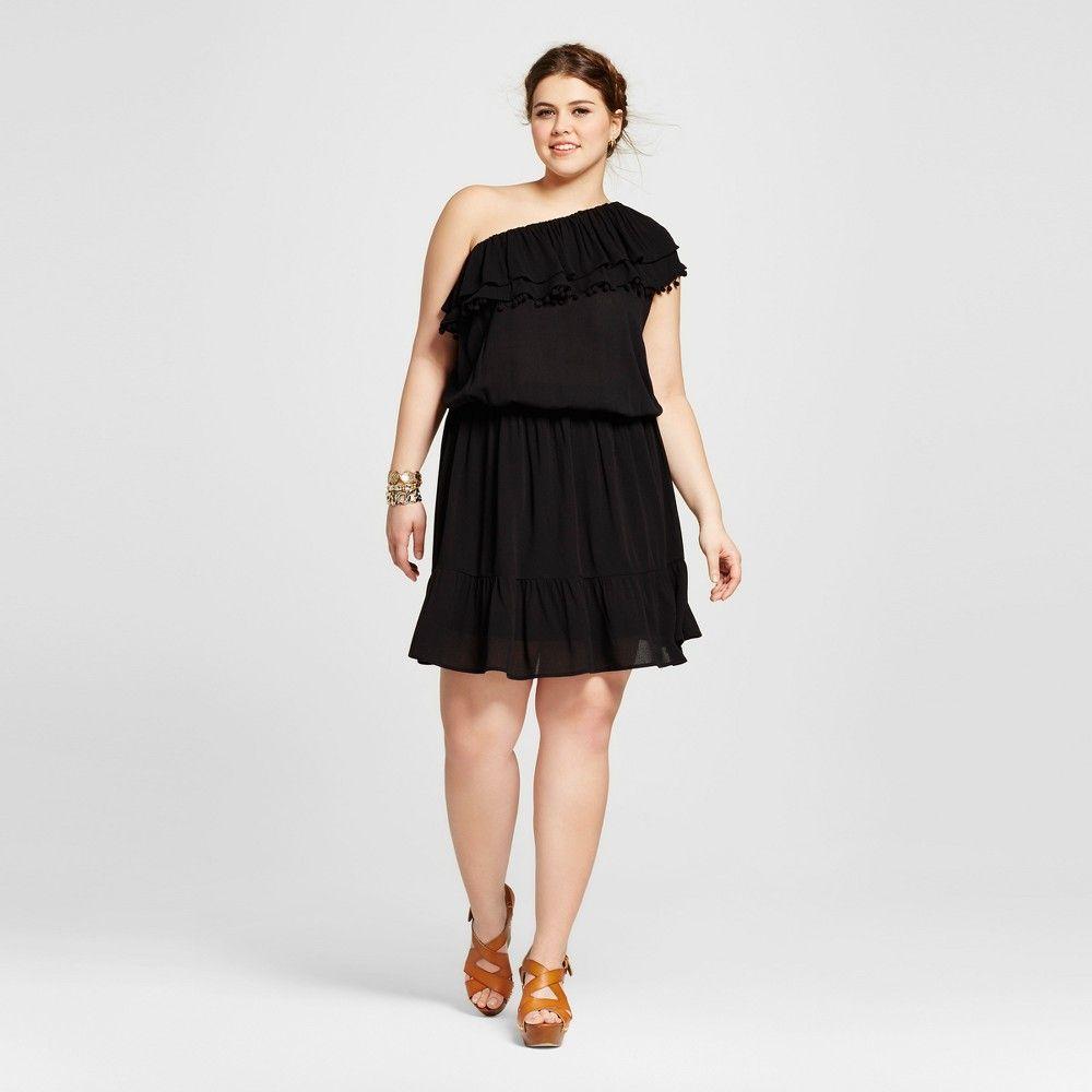 Womenus plus size one shoulder short dress with ruffle xhilaration