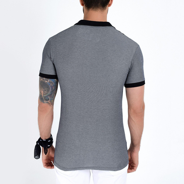 Hajotrawa Mens Contrast Color Button Basic Lapel Neck Polo-Shirts Top Tee T-Shirts