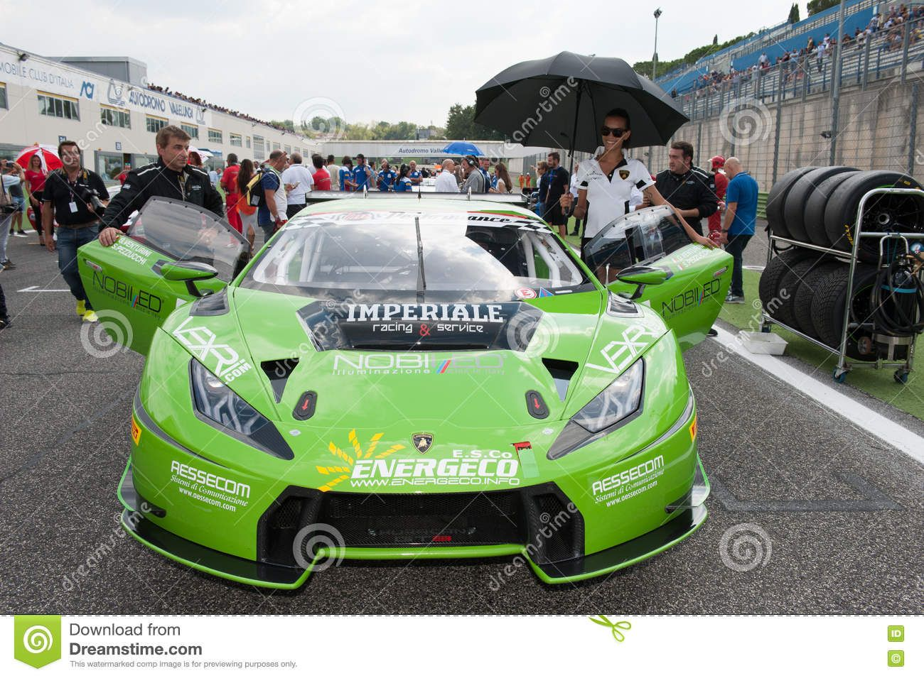 Cars · Vallelunga, Rome, Italy. September 10th 2016. Beautiful Grid Girl  And Green Lamborghini