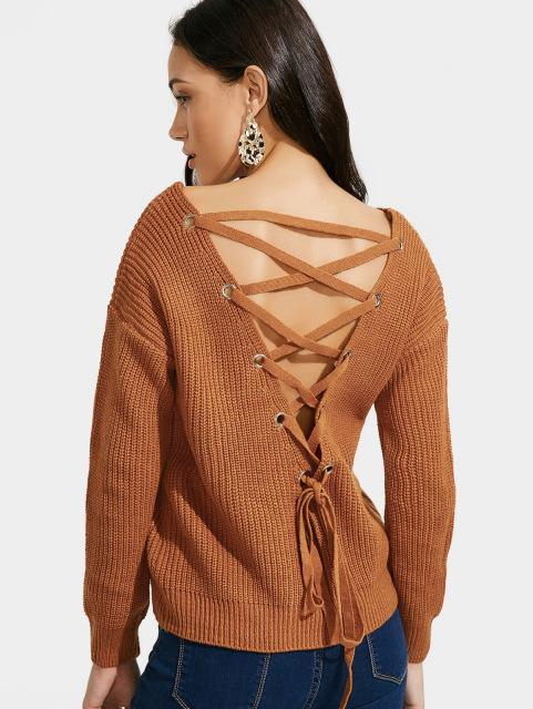 AZULINA Boho V Neck Back Lace Up Pullover Sweater Women Mustard Long Sleeve  Casual Jumper Fall 2017 Fashion Sexy Loose Sweater 2811de10c