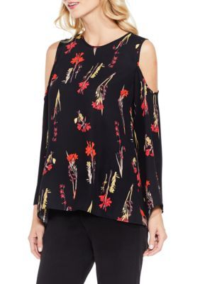 2b19bf5481e5 Vince Camuto Women's Bell Sleeve Botanical Cold Shoulder Blouse - Rich  Black - Xl