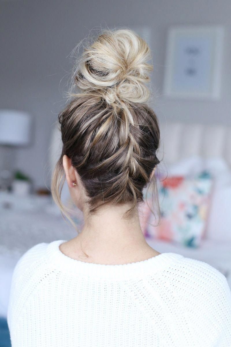 Today, I'm sharing how to twist your hair into a french braided top knot -- give your top knot a little something extra when you have a couple more minutes! #toplonghairstyles #braidedtopknots Today, I'm sharing how to twist your hair into a french braided top knot -- give your top knot a little something extra when you have a couple more minutes! #toplonghairstyles #braidedtopknots