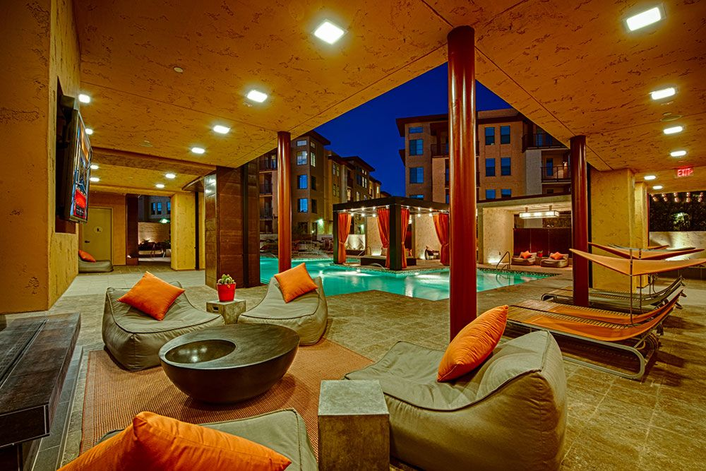 Our poolside cabana at night Happy Valley Decor