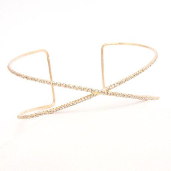 $1 400 14k Rose Gold and Diamond X Cuff Bracelet 150 round