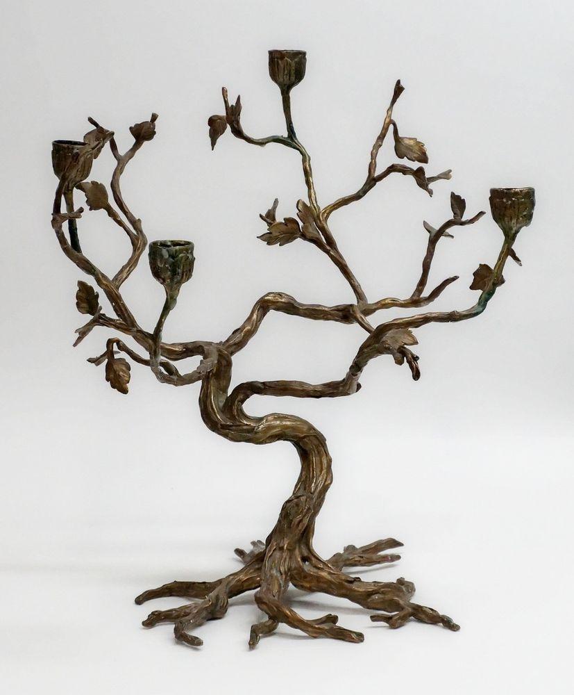 Cast Bronze / Brass Sculpture Tree Candelabra organic natural tree ...
